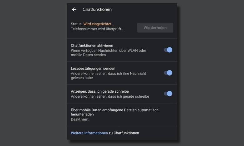 Google Messages Chatfunktionen