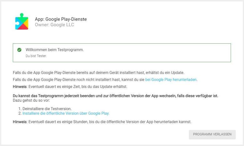 Google Play Dienste Beta Browser