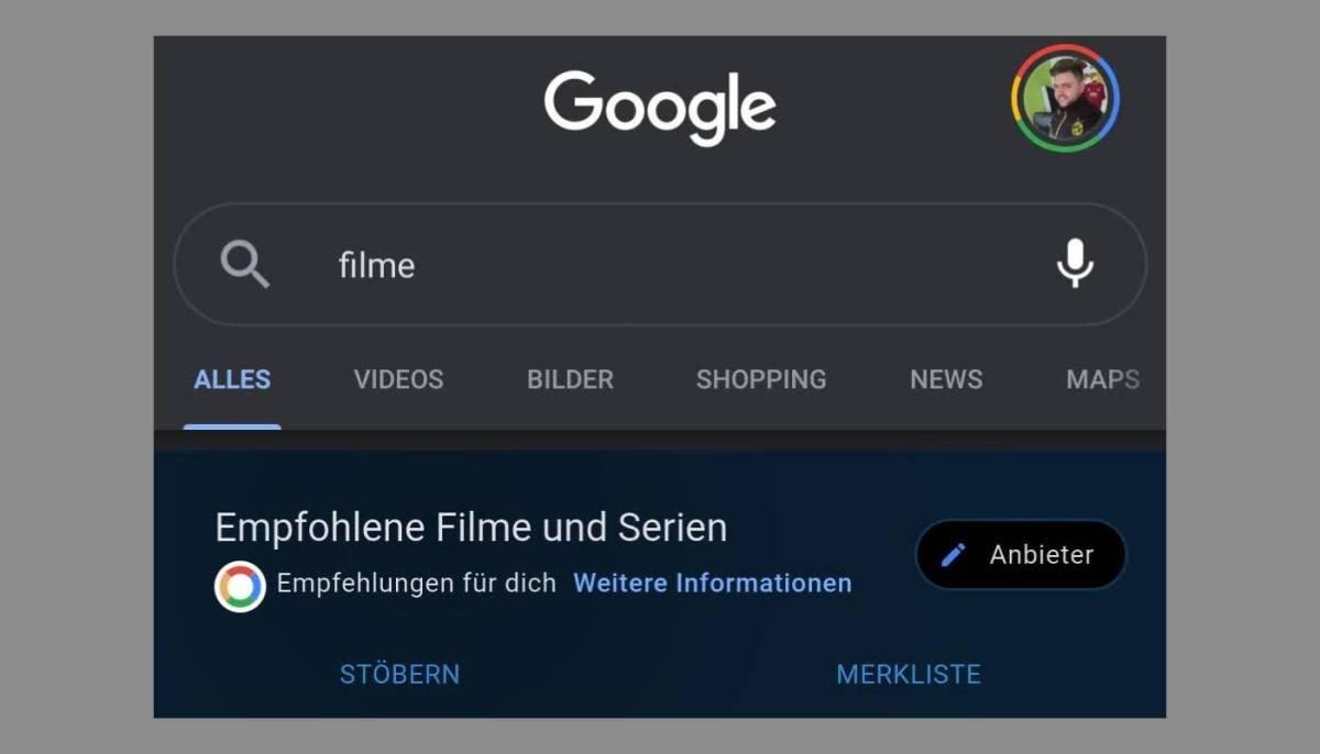 Google Suche Filmfunktionen