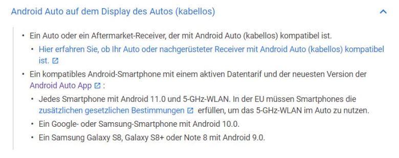 Android 11 Android Auto Kabellos Hilfeseiten
