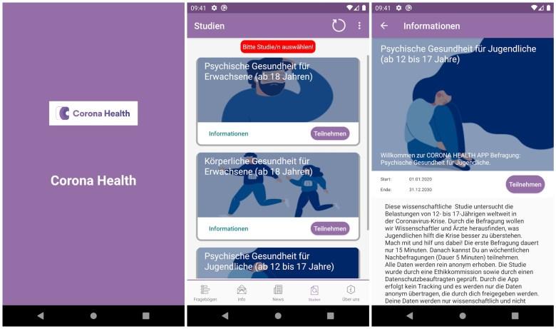Corona Health Screenshots