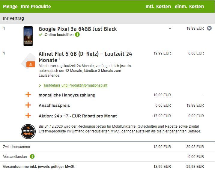 Google Pixel 3a Klarmobil Angebot