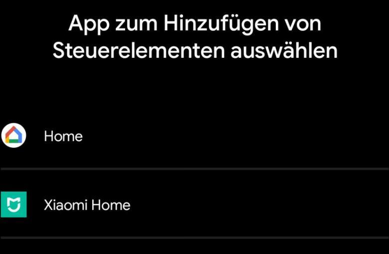 Steuerelemente Smarthome Einschaltmenü Android 11