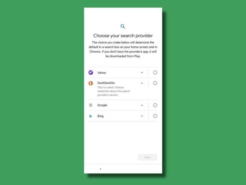 Android Suche Auswahl Bildschirm Choice