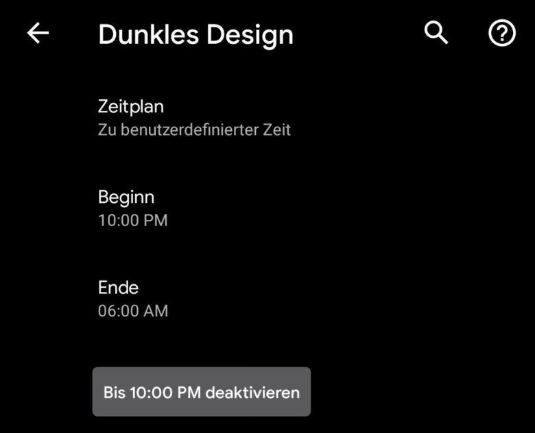 Dunkels Design Zeitplan Android 11