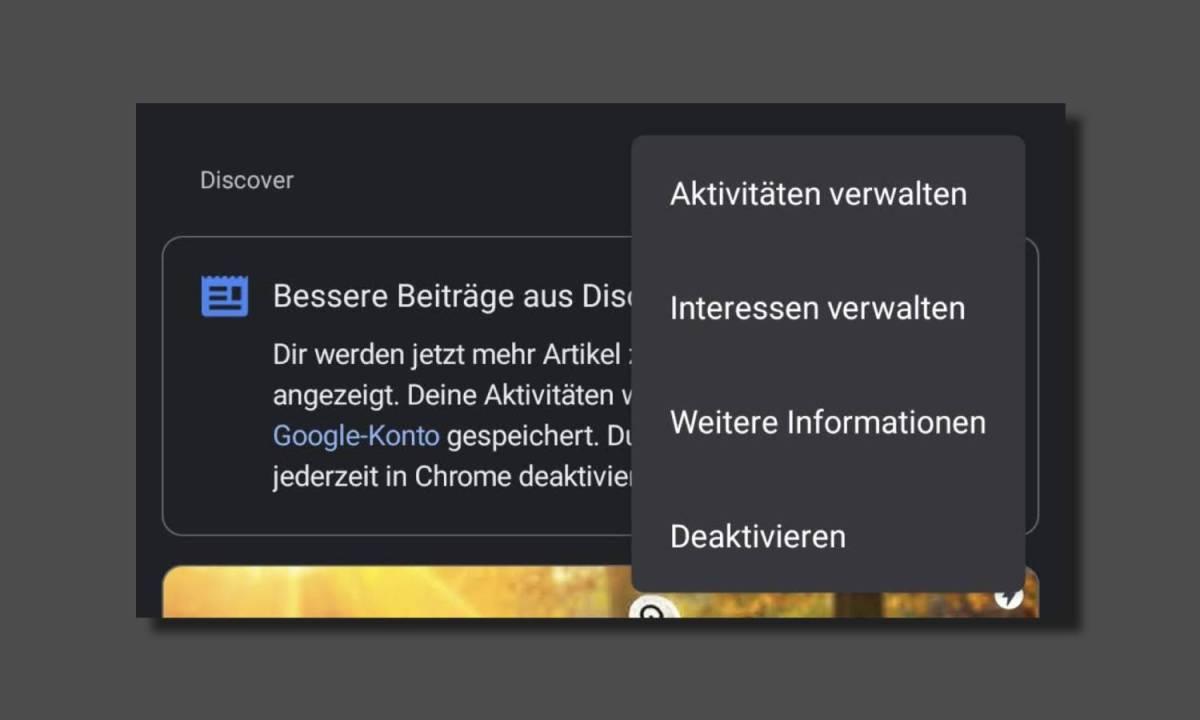 Google Discover Einstellungen Chrome Neuer Tab