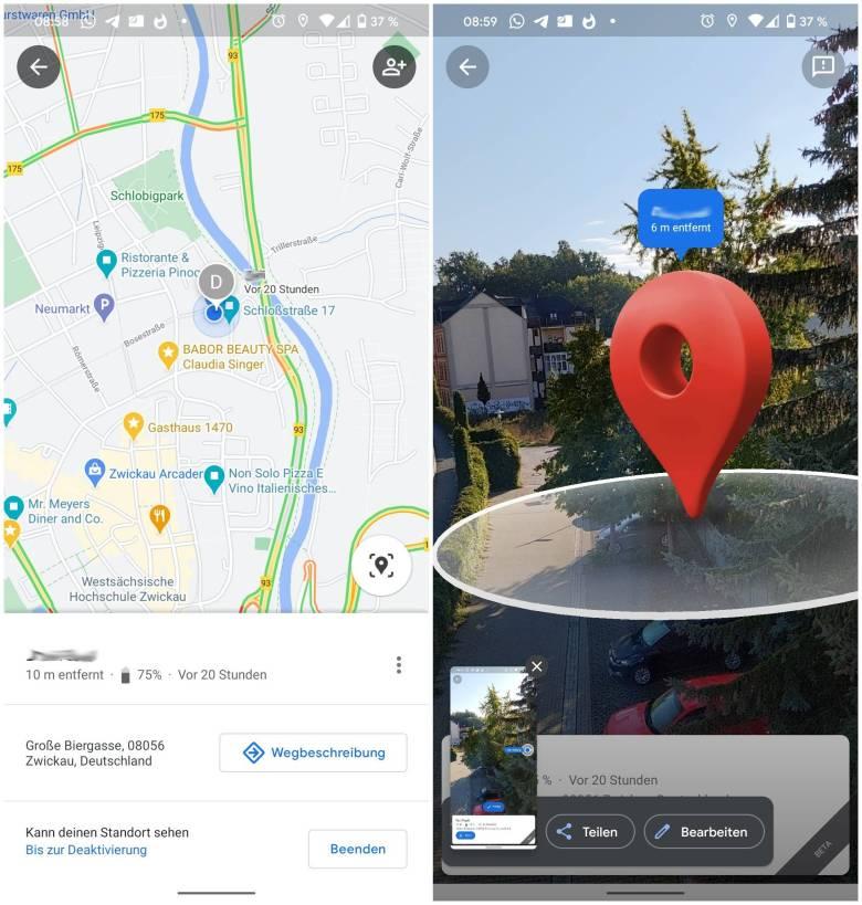 Live View Standortfreigabe Google Maps Android 11
