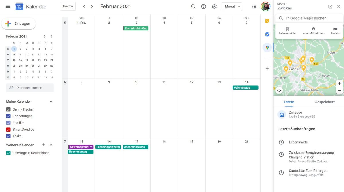 Google Maps Kalender