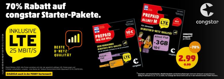 Congstar Prepaid Pakete Penny Rabatt