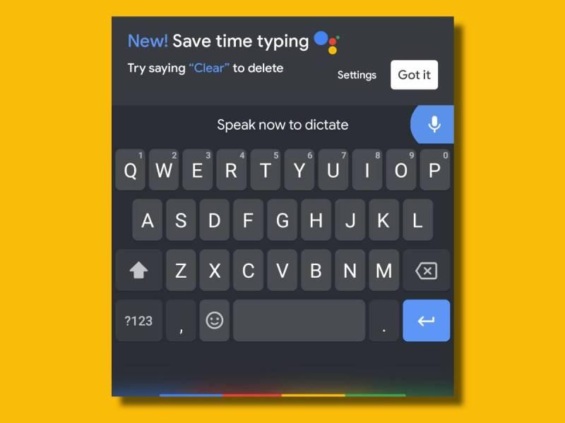 Google Assistant Spracheingabe Gboard