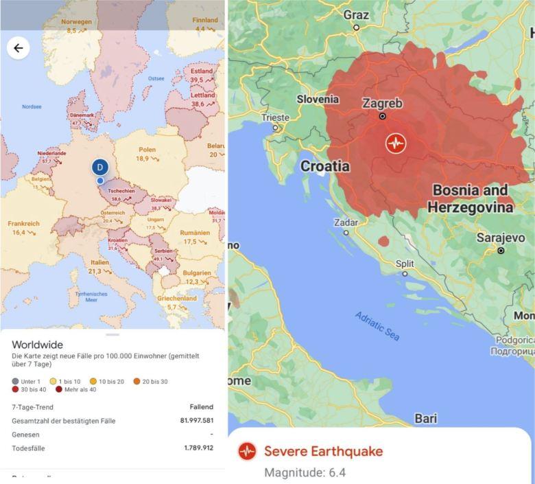 Google Maps Covid Und Erdbeben