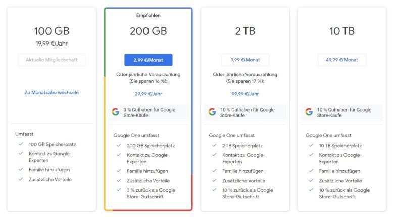 4 Google One Pakete