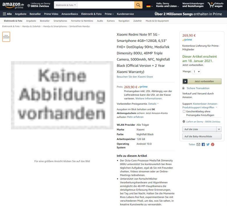 Amazon Redmi Note 9 5g