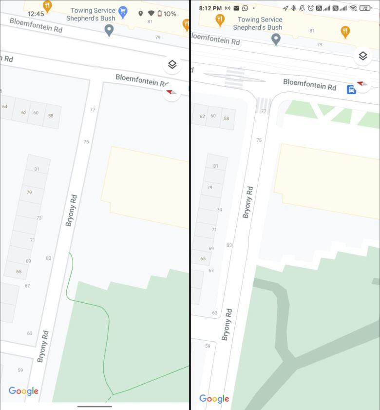 Google Maps Karten Details Update Vergleich 2