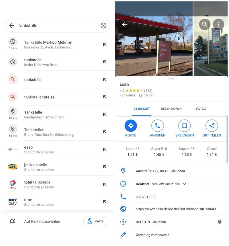 Google Maps Tankpreise
