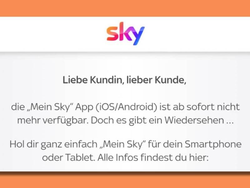 Mein Sky App Ende