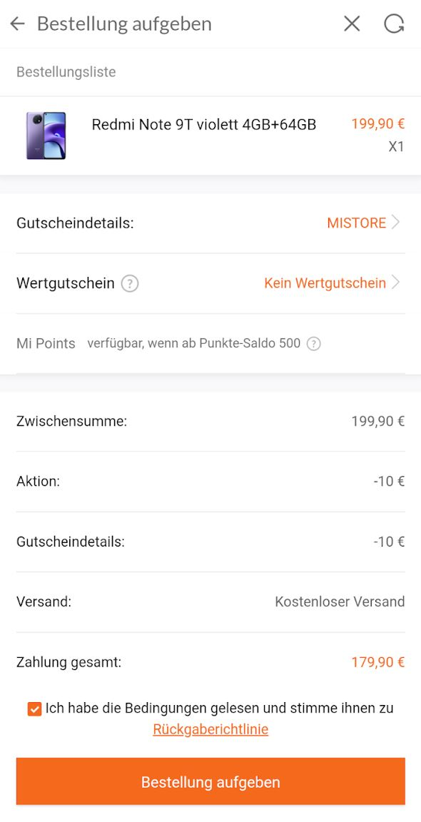 Redmi Note 9t 180 Euro Angebot