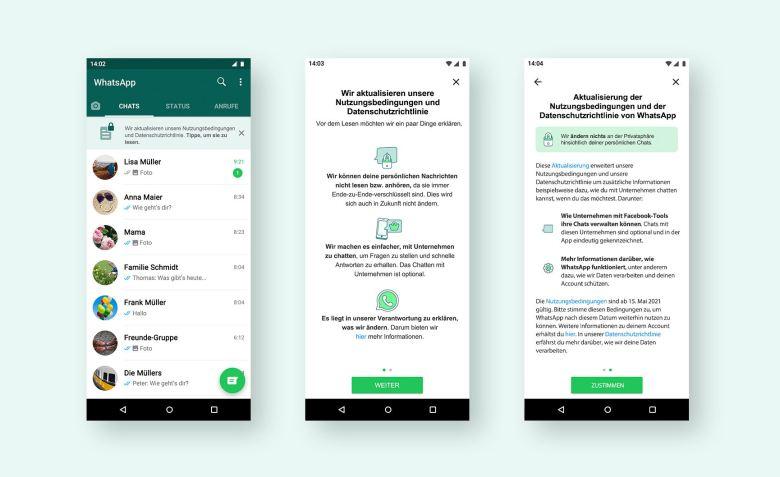 Whatsapp Dialog Neue Nutzungsbedingungen 2021