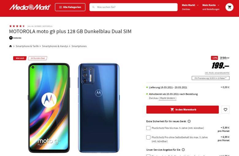 Moto G9 Plus 199 Euro Mediamarkt