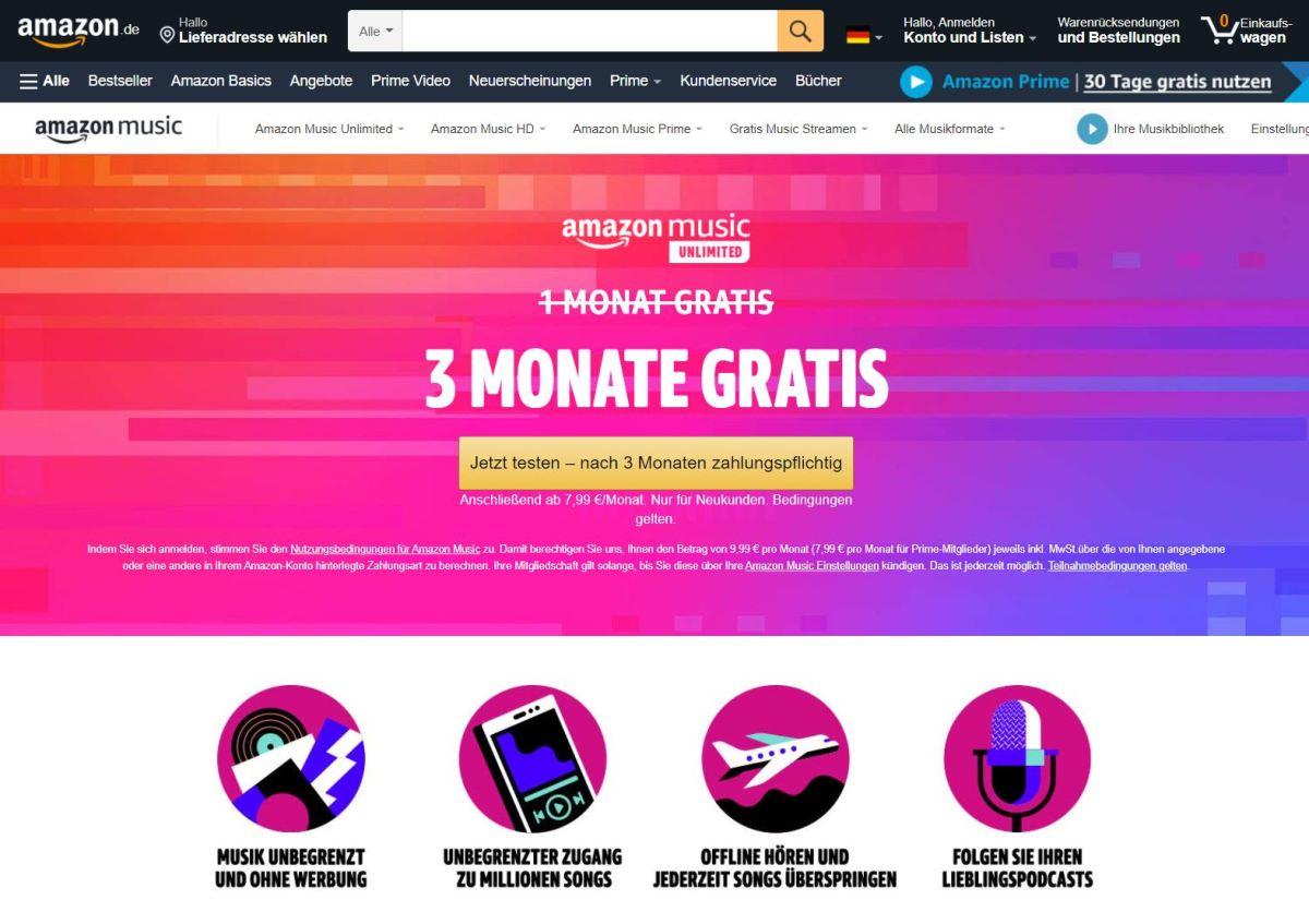 Amazon Music 3 Monate Kostenlos April 2021