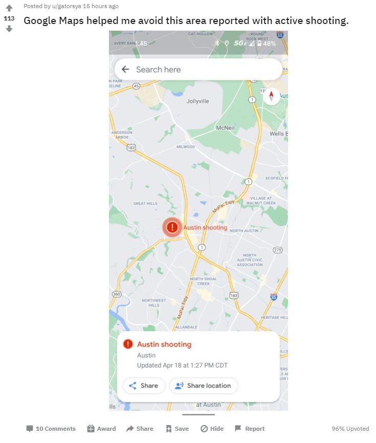 Google Maps Shooting Warnung