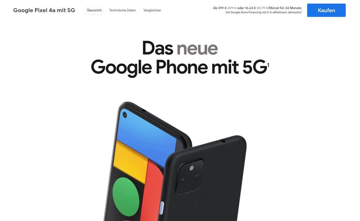 Google Pixel 4a 5g Google Store 399 Euro