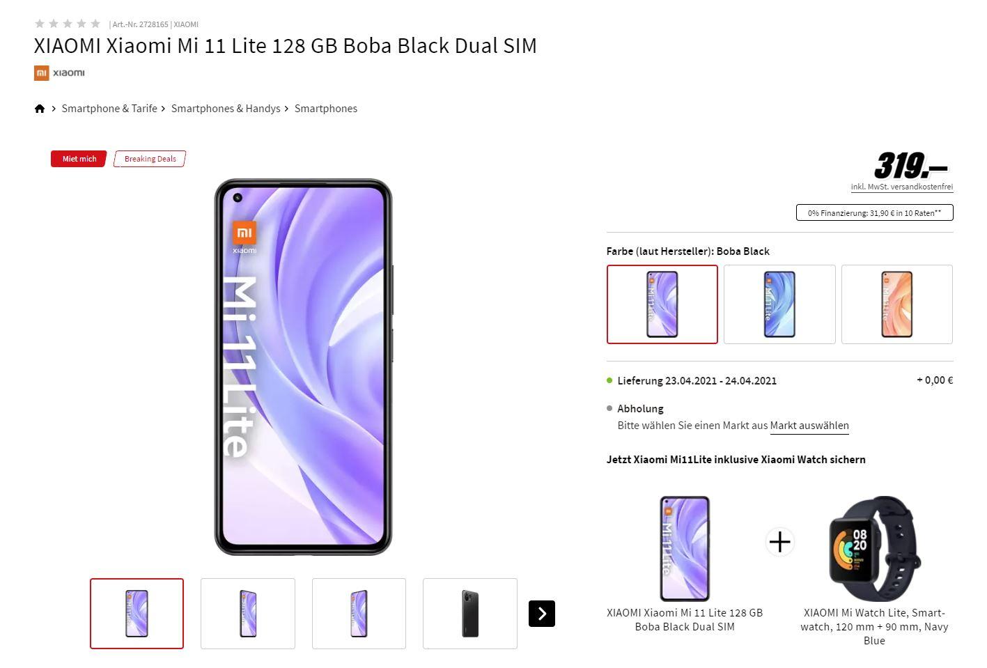 Xiaomi Mi 11 Lite (128 GB) im Preis gefallen und mit Gratiszugabe