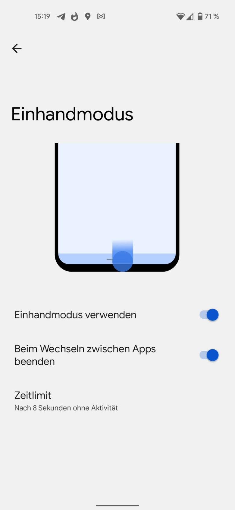 Android 12 Beta Einhandmodus