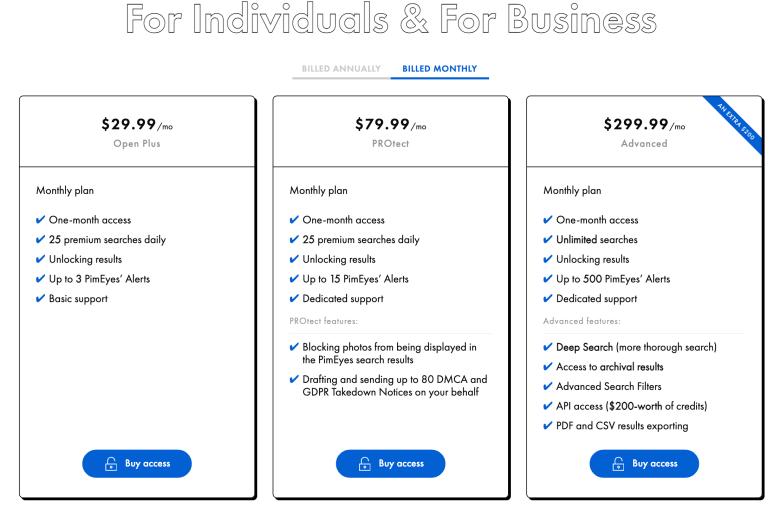 Pimeyes Pricing Screenshot