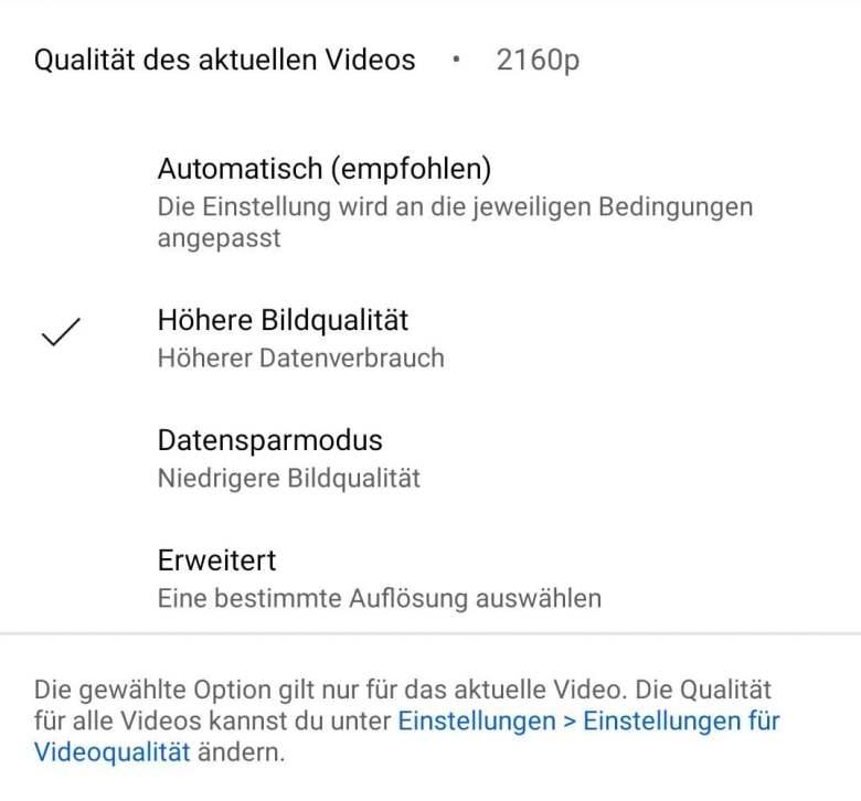 Youtube Android Qualität Einstellungen Neu 2021