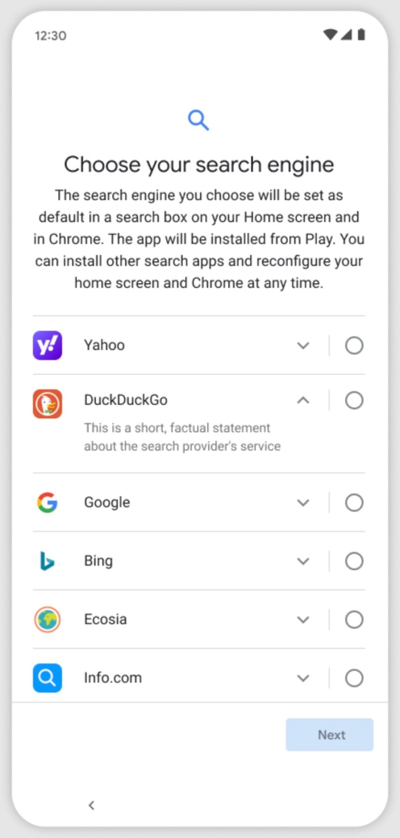 Android Auswahlbildschirm Suchanbieter 2021