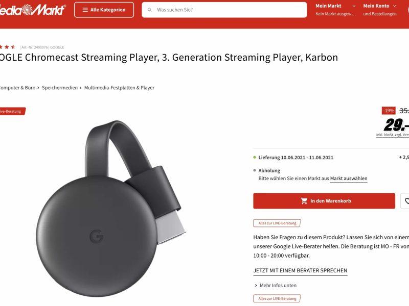 Mediamarkt Chromecast 3 29 Euro Angebot