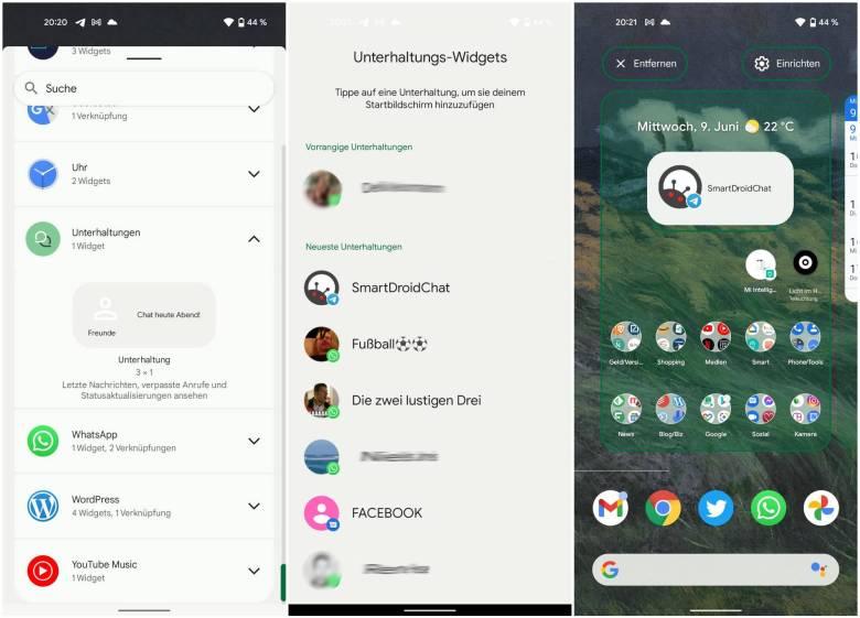 Unterhaltungen Widget Einrichtung Android 12
