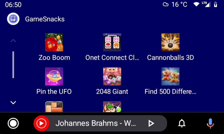 Android Auto 6.7 Beta Game Snacks 2