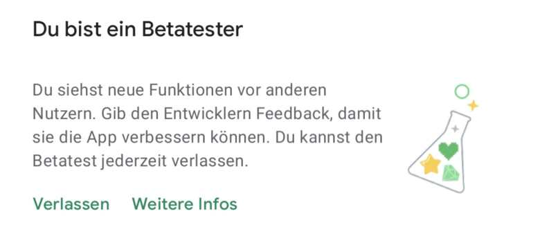 Google Play Store Betatester Hinweis