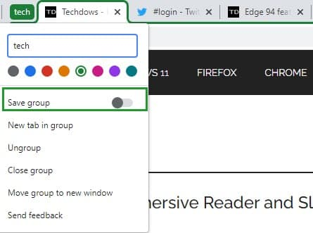Chrome Tab Group Label Right Click Menu With Save Group Toggle