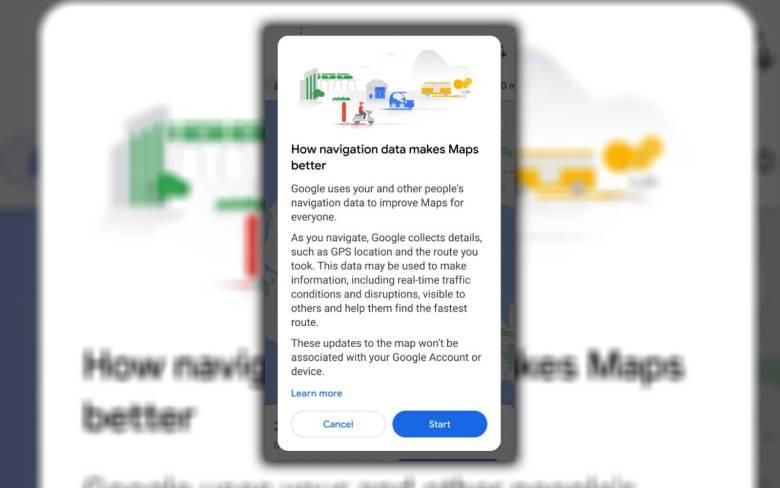 Google Maps Navigation Meldung