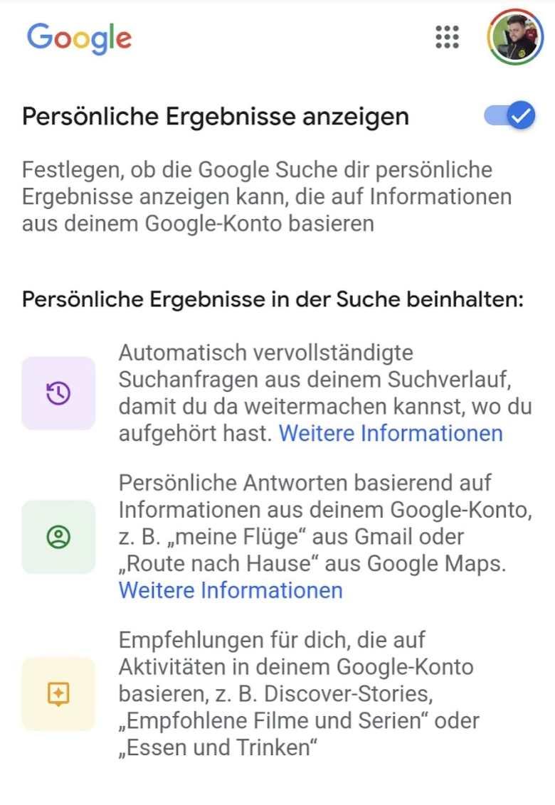 Google App Einstellungen Pers Ergebnisse