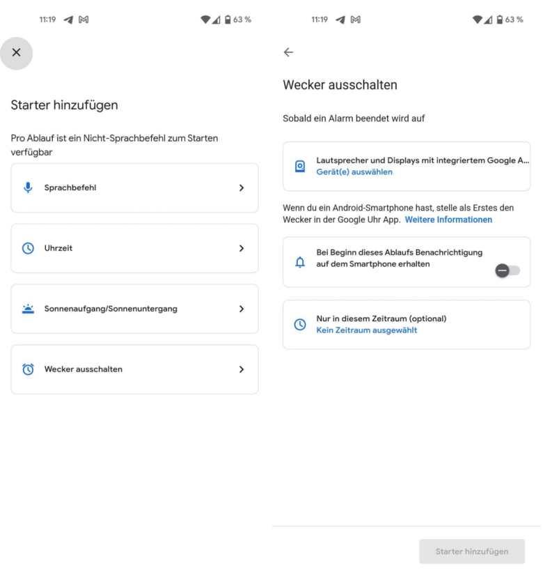 Google Assistant Ablauf Wecker Starter