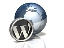 3d WordPress logo next to a globe