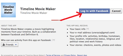 login to facebook timeline movie maker