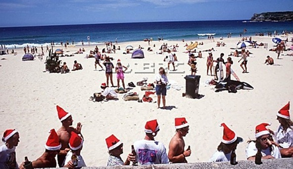 christmas party on a beach