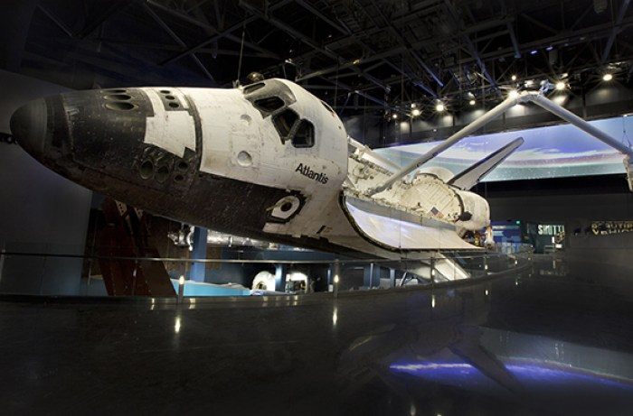 Blast off in a space shuttle