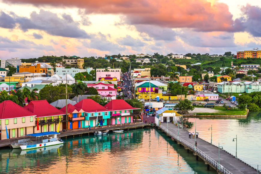 St. john's, antigua port at sunset.