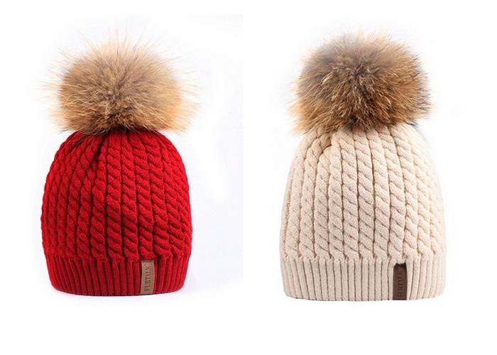 apres ski clothes FURTALK Knit Pom Pom Hat