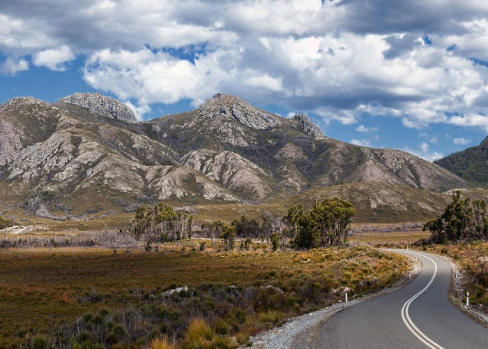 tasmania road and mountains.