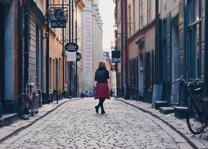 traveler on street in sweden.