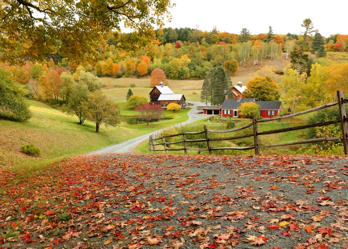 vermont scene with barn roads and fall foliage