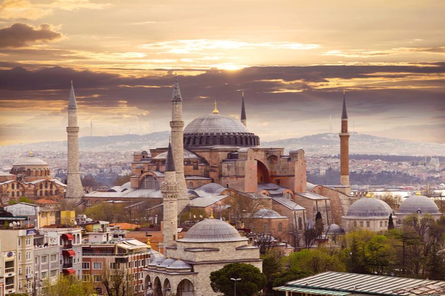 Hagia Sophia in sunrise Istanbul Turkey.