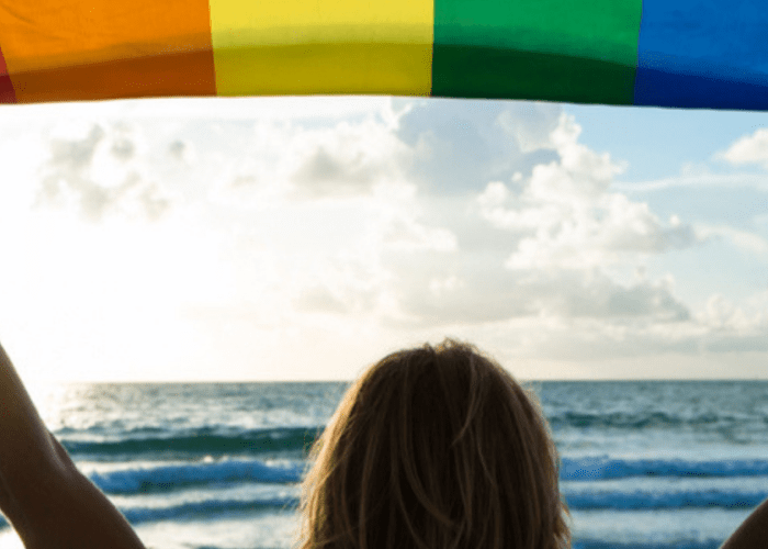 rainbow flag held by a woman's silhouette